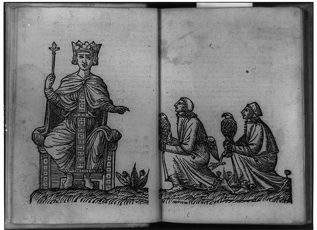 [Manfred seated and pointing to two knelling men with falcons]