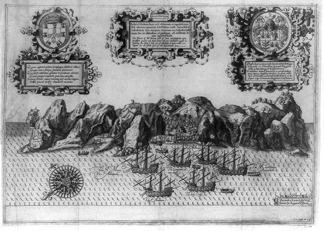 [Dutch ships anchored in harbor of Helena Island in Arctic during Willem Barents' voyage of exploration in 159-]