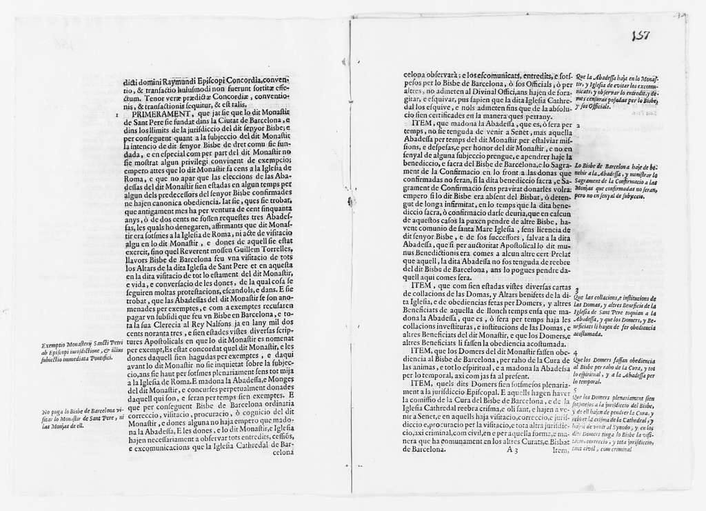 Agreement between Juan, Bishop of the city of Barcelona and the Chapter of the See of this city, and Violante de Belvehi, Abbess, and the Monastery of San Pedro de las Puellas of the city of Barcelona concerning separation between the religious congregations and the Bishopric of the city of Barcelona. Ca. XVII century