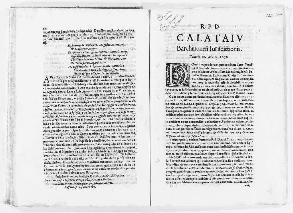 Brief on behalf the Abbess María de Copons of the Monastery of San Pedro de las Puellas of the city of Barcelona, concerning nullity of a decision adopted by the Archbishop of Barcelona and penalties imposed by him on said Abbess. Ca. 1679