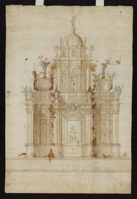 [Design for a memorial with tempietto. Elevation]