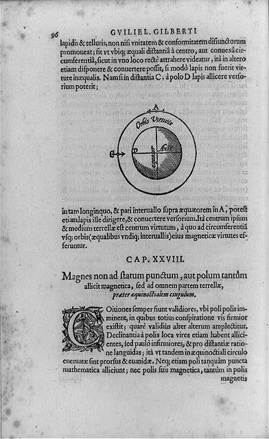 [Diagram of Gilbert's terella, or earth model, a spherical magnet used to show earth's magnetic qualities; with decorated initial C and surrounding text]