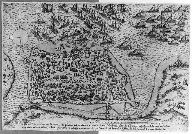 Disigno dell' isola de Gerbi con le seche che la difendeno dall' inondatione del mare, ...