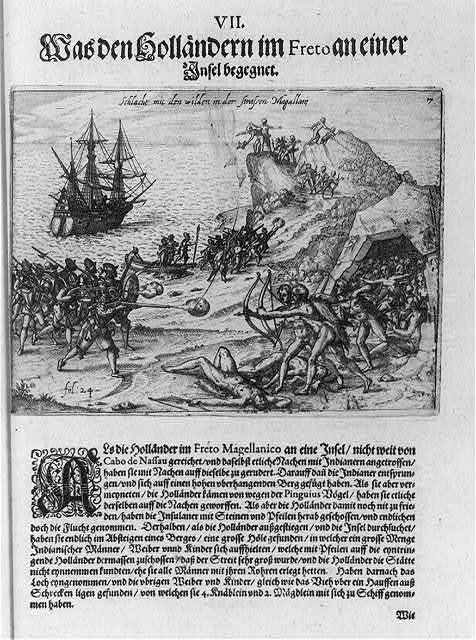 [Dutch soldiers battling natives at Strait of Magellan. Chile. ca. 1600]