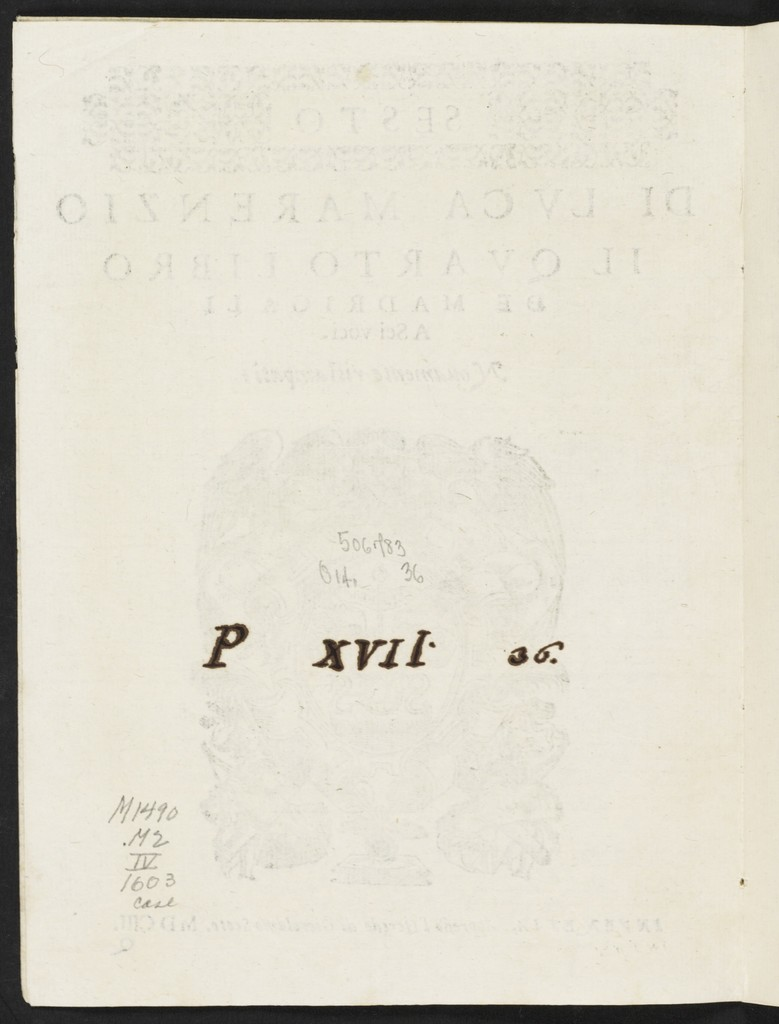 Il  qvarto libro de madrigali a sei voci