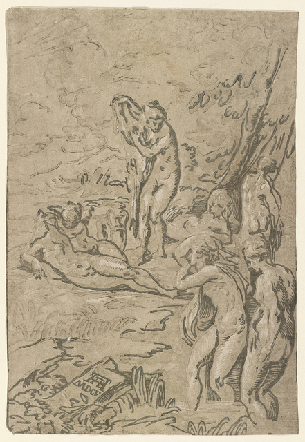 Nymphs bathing / AA [monogram of Andrea Andreani] 1605.