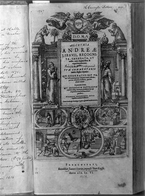 [Title page of Alchymia, with figures of Galen and Aristotle, and scenes depicting alchemy]