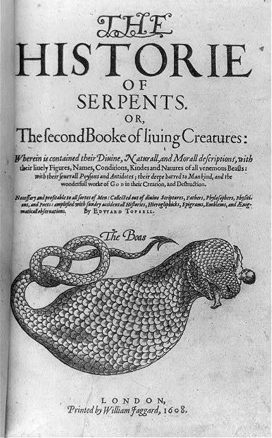 "Title page showing enormous serpent, ""The Boas"", with man in its mouth, in Edward Tobsell, The historie of serpents, London, William Jaggard, 1608"