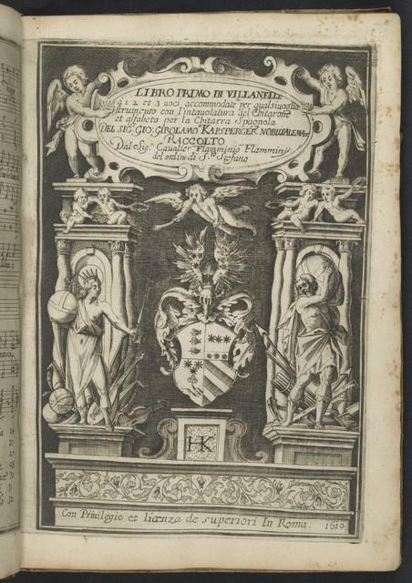 Libro primo di Villanelle à 1, 2 et 3 uoci accommodate per qualsiuoglia strumento con l'intavolatura del chitarone et alfabeto per la chitarra spagnola