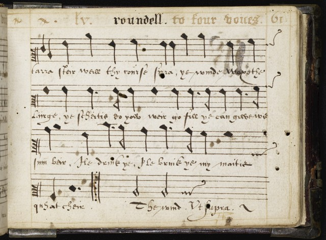 Ane  buik off roundells whairin thair is conteined songs and roundells that may be sung with thrie, four, fyve, or mo voices haising prettie and plesantt letters sum in Latin and sum in Inglish quhilks ar an hundreth in numbrr