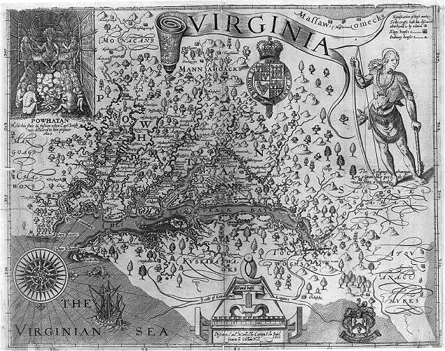 Virginia / discovered and discribed [sic] by Captan [sic] John Smith, 1606; graven by William Hole