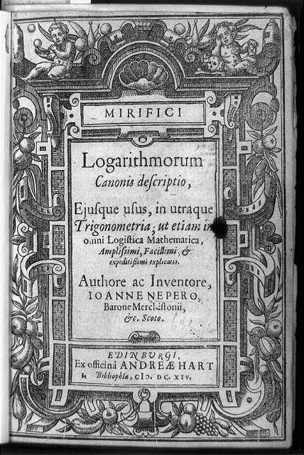 [Title page of Mirifice logarithmorum canonis descriptio; with border of fruit and angels]