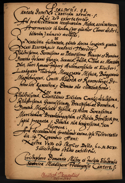 Psalmus 98, Freiburg, 19 Nov. 1615