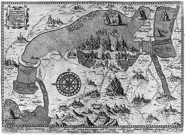 [Map of Mexico City and environs, showing some buildings] / Samuel Estradanus sculptist, Didac Cisneros inventor