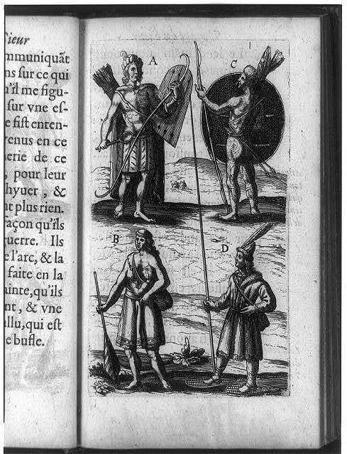 [Four Native American Indians of New France (Canada): two men at top in war attire, with shield, bow, and arrows; mother holding paddle and nursing infant; and men clothed for winter, wearing snowshoes]