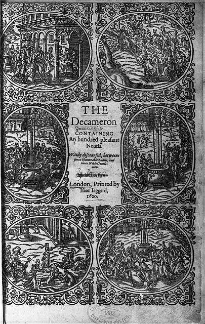 [Engraved title page of Boccaccio's Decameron; 1620 English edition; illus. with 6 scenes]