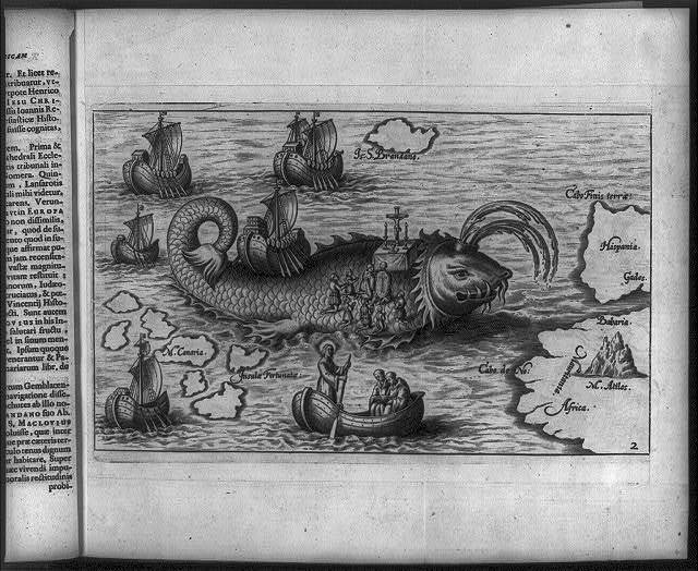 [Saint Brendan, 484-577, figurative map of St. Brendan's legendary voyage; shows Mass being said on the back of a whale]