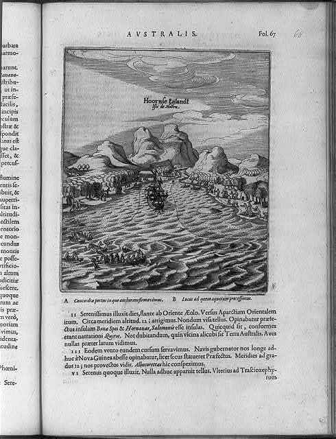 [Ship of Dutch navigator Willem Cornelis Schouten (1567?-1625) being greeted by Patagonian Indians at Cape Horn, Chile, 1616]