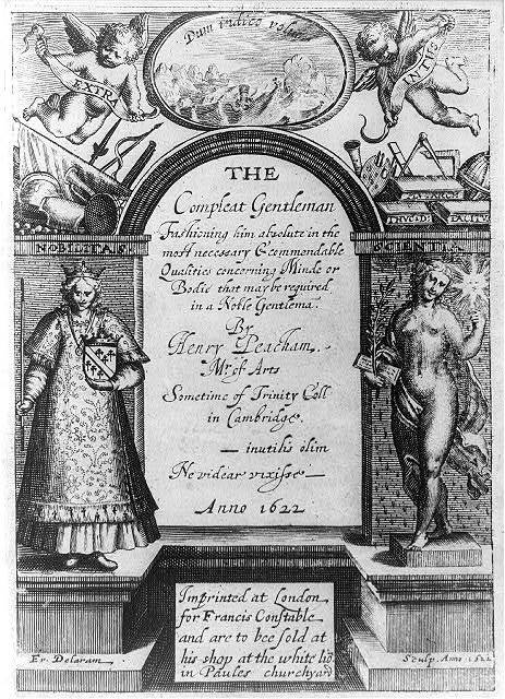 "[Title page for The complete gentleman, by Henry Peacham, with elaborate border showing figures of ""Nobilitas"" and ""Scientia""] / Fr. Delaram sculp. anno. 1522 [i.e., 1622]"