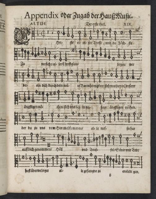 Hauss music geistlicher Gesäng darunter etliche auff die fürnembsten Fest dess Jahrs ein Theils aber in gemein täglich von Gottliebenden Hertzen nutzlich zu gebrauchen : mit vier Stimmen componirt
