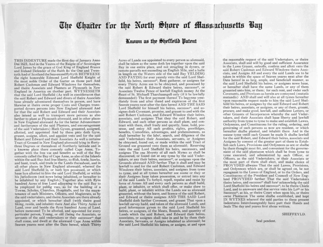 The Charter for the North Shore of Massachusetts Bay. known as the Sheffield Patent Jan 1, 1623 [Reprint].