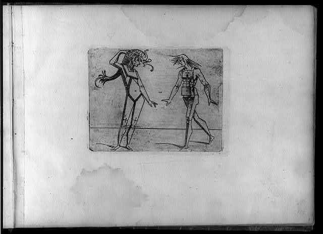 [Composite figures in cubist and surrealistic style composed of materials such as chain links, tubes, sieves and tennis racquets]