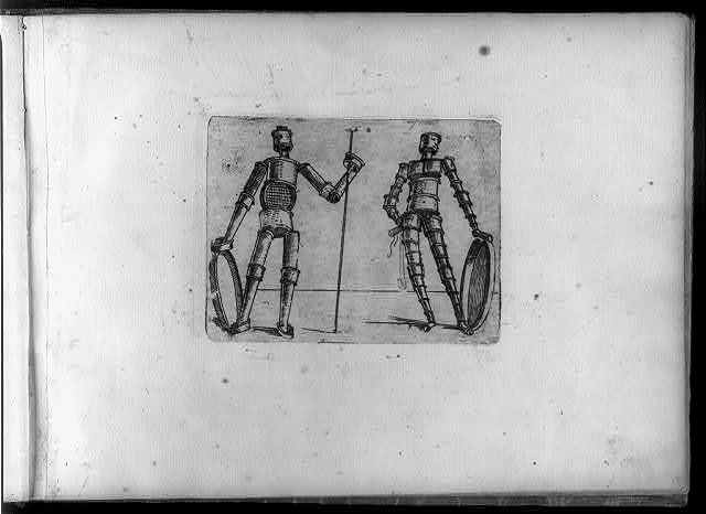 [Composite figures in cubist and surrealistic style composed of materiasl such as chain links, tubes, sieves and tennis racquets]