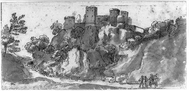 [Landscape with a castle on a hill and three figures and horse]