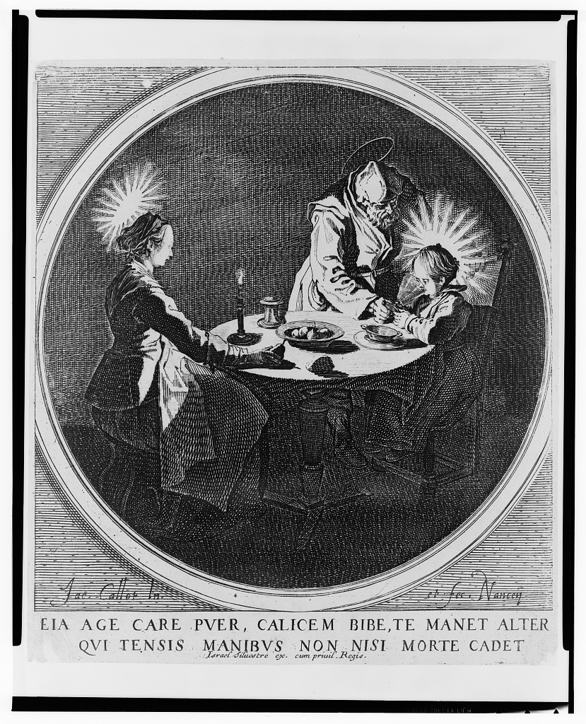 [The Holy Family at table] / Jac. Callot, in. et fec., Nancey.