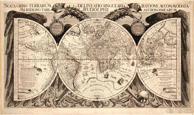 Noua orbis terrarum delineatio singulari ratione accommodata meridiano tabb. Rudolphi astronomicarum /