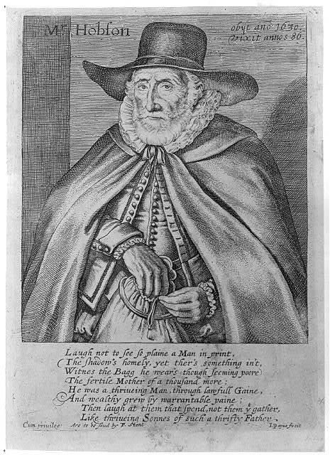 Mr. Hobson, obyt ano 1630, vixit annos 86 / J. Payne fecit.