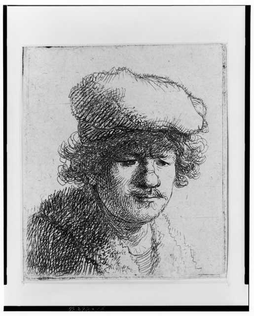 [Rembrandt with cap pulled forward]