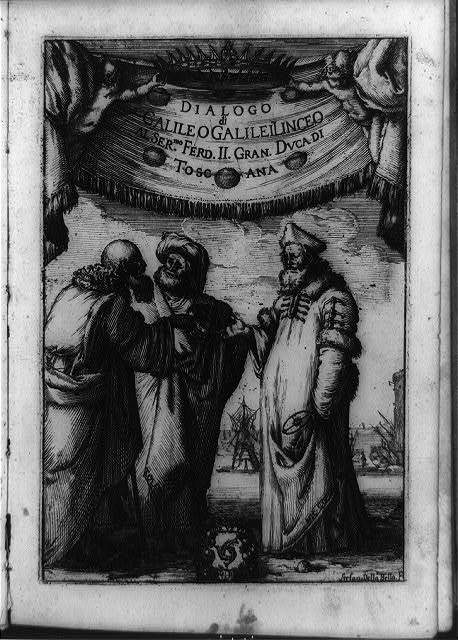 [Aristotle, Ptolemy, and Copernicus discussing matters of astronomy beneath Medici family ducal crown and banner] / Stefan Della Bella, F.