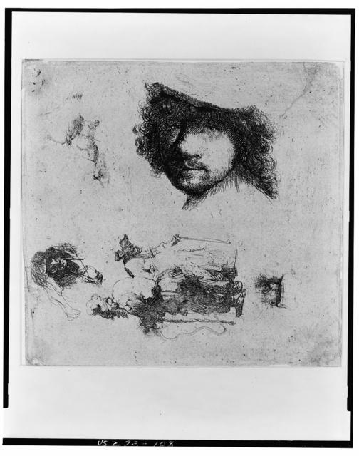 [Head of Rembrandt, beggars, etc.]