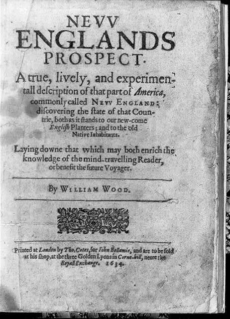 Title page, with no illus., in William Wood, Nevv Englands prospect, London, by T. Cotes for J. Bellamie, 1634
