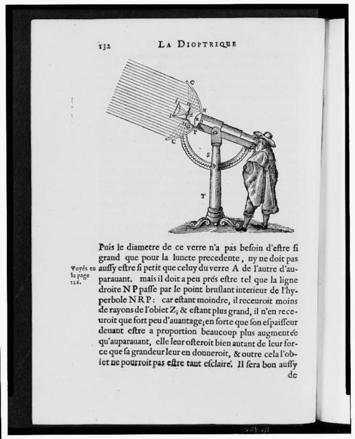 """[Compound microscope as rendered by artist in Descartes """"La Dioptrique""""]"""