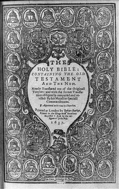 [Title page of The Holy Bible (printed at London by Robert Barker, 1637) bordered by symbols of the 12 Tribes of Israel, oval portraits of the 12 Apostles, and of the 4 Evangelists & their symbolic attributes]
