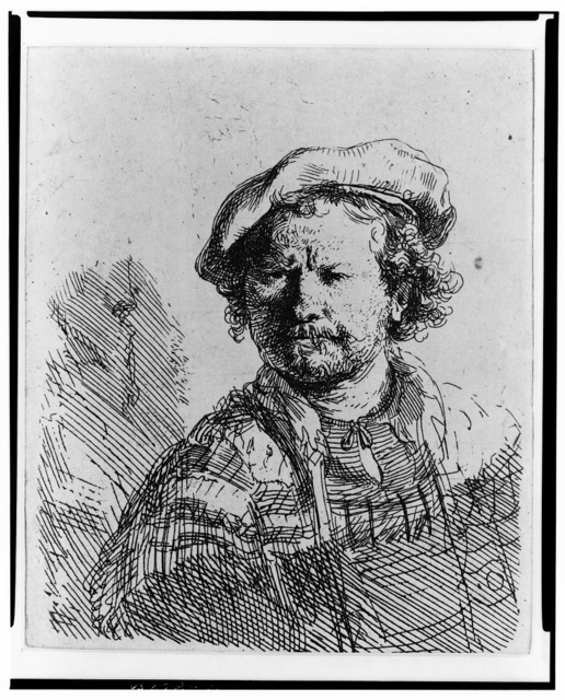 [Rembrandt in flat cap and embroidered dress]