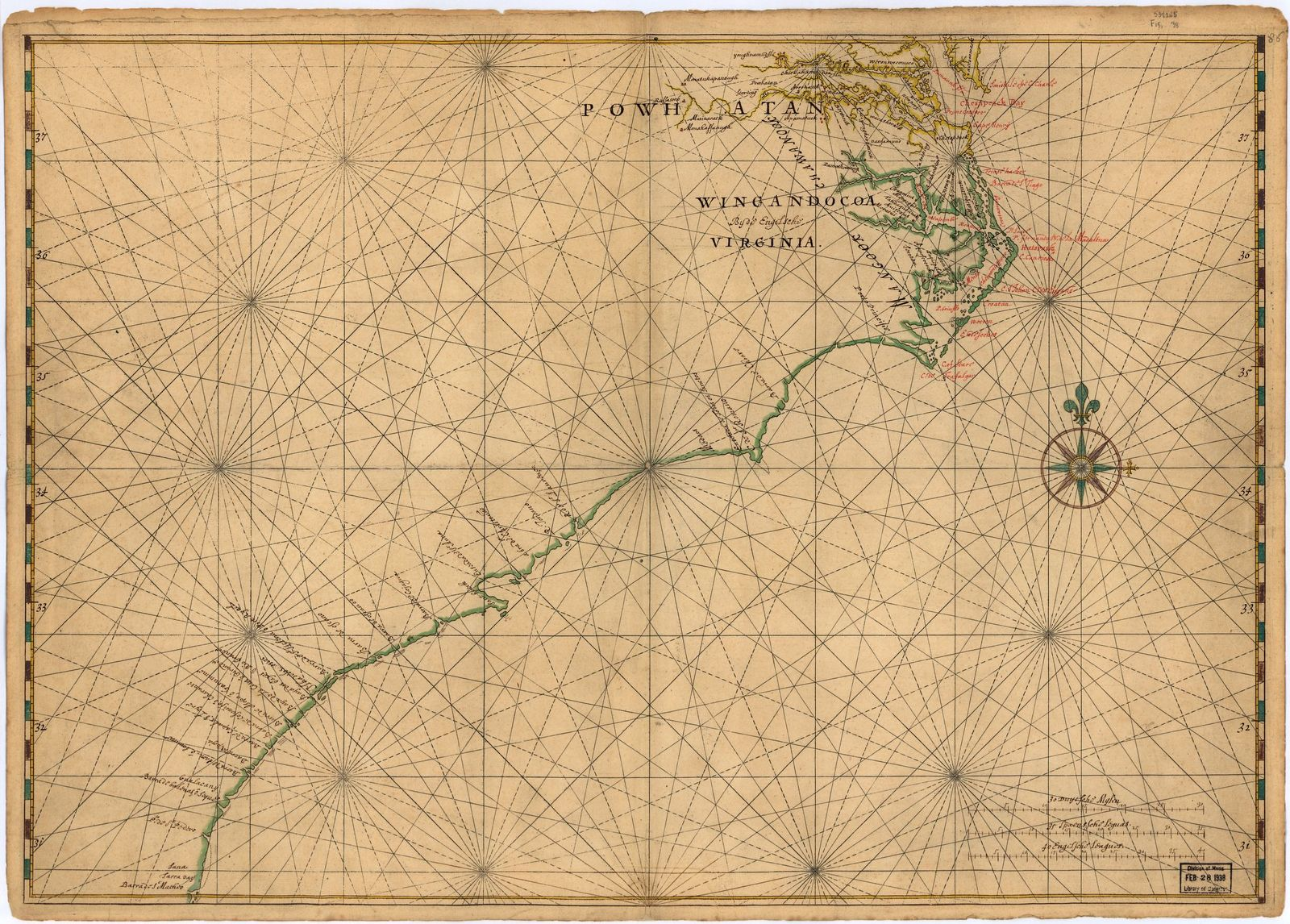 [Map of Atlantic Coast of North America from the Chesapeake Bay to Florida].