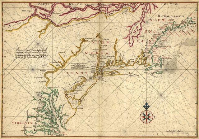 Pascaert van Nieuw Nederlandt Virginia, ende Nieuw-Engelandt verthonendt alles wat van die landin by See, oft by land is ondect oft Bekent.