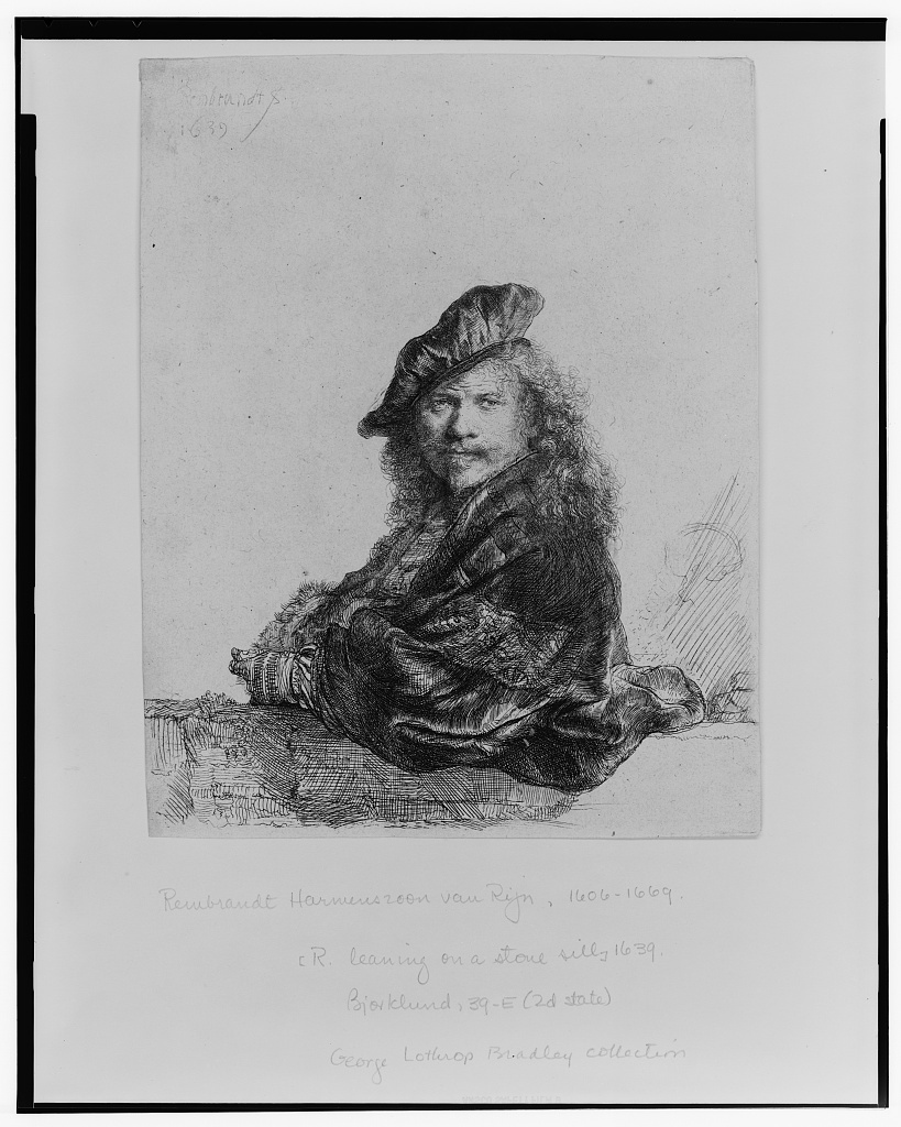 [Rembrandt leaning on a stone sill] / Rembrandt, 1639.