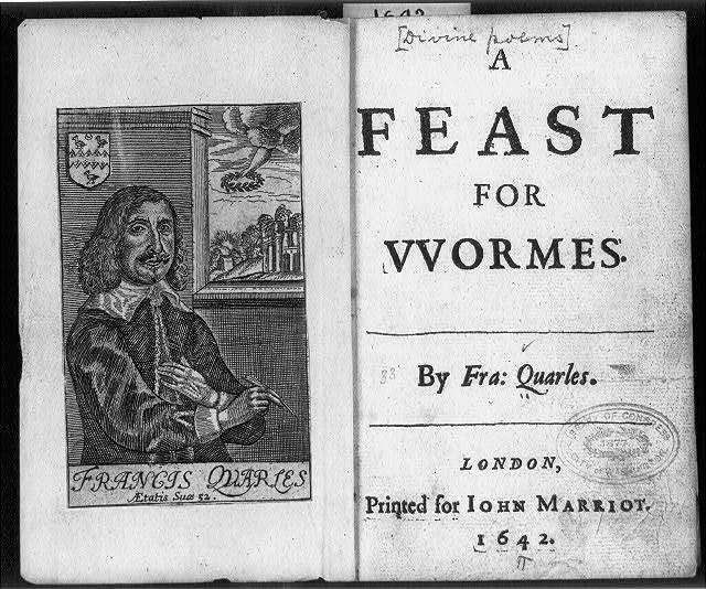 "[Title page of ""A Feast for Wormes"" 1642 [Jonah] by Francis Quarles, and wood engraving portrait of the author]"
