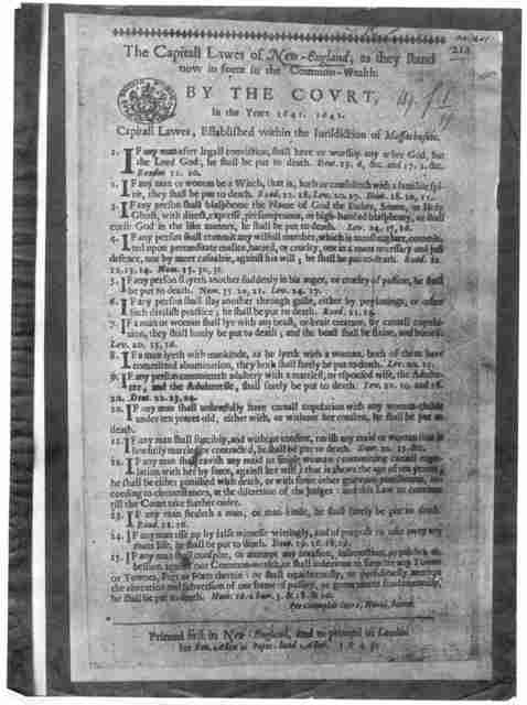 The Capitall lawes of New-England, as they stand now in force in the Commonwealth. By the Court, in the years 1641. 1642 ... Printed first in New-England, and reprinted in London for Ben Allen in Popes-head Allen. 1643.
