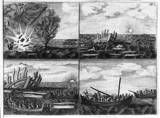 [Images showing a shipwreck and people in a boat sailing toward the wreck]