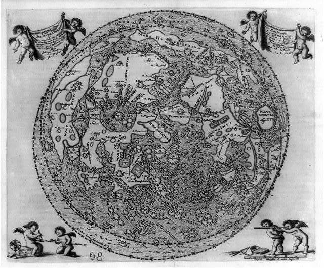 [Map of moon showing surface features, with four sets of cherubs and a scale bar]