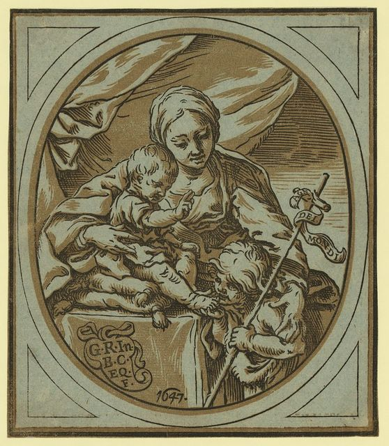 The Virgin, Child, and St. John the Baptist / G.R., In., B.C. Eq.F., 1647.