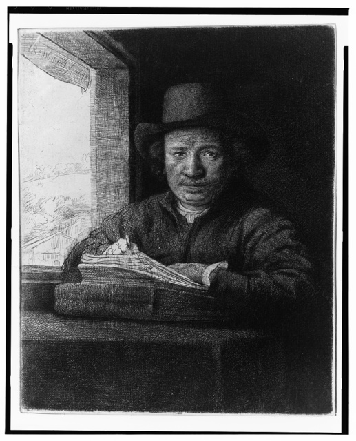 [Rembrandt drawing by a window] / Rembrandt, 1648.