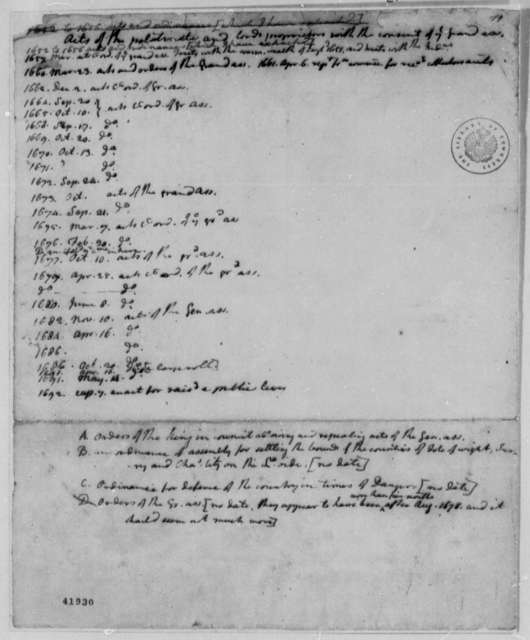 """Pennsylvania Colony Laws and Statutes, 1652-92, List of """"Acts of the Politinate and Lords"""""""