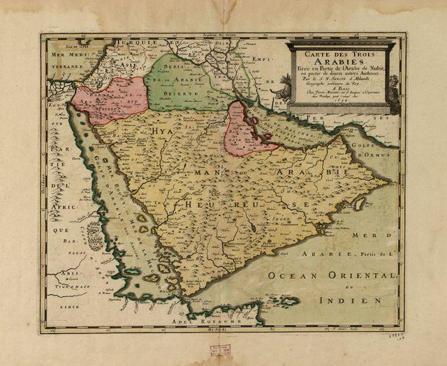 Carte des trois Arabies : tirée en partie de l'Arabe de Nubie, en partie de diuers autres autheurs /