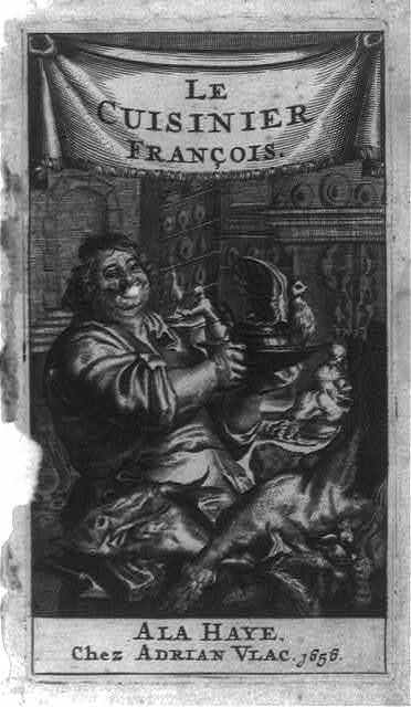 [French Cookery. Frontispiece illustration of cook inside restaurant]